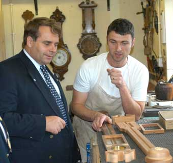 Neil Parish MEP discusses traditional barometer making with barometer maker Anthony