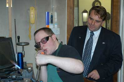 Neil Parish MEP watches Andrew make a barometer tube